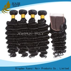 China No Tangling Remy Hair Weave , Natural Black Real Human Hair Extensions on sale