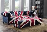 Velvet Union Jack Three Seater Leather Sofa Hand Work Craft Fabric Buttons