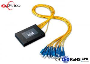 China 2.0mm PLC Fiber Optic Splitter 1*16 ABS Box Module SC PC Connectors for FTTH Network on sale
