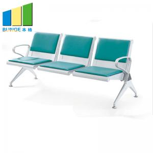 China Hospital / Office Public Waiting Chair 3 Seater Stainless Steel Leg PU Leather on sale