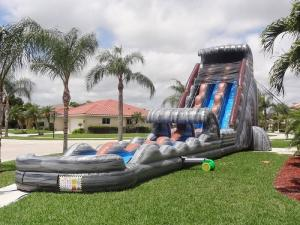 China Amusement Park 30 FT 2 Lane Inflatable Water Slides Custom PVC Waterproof on sale