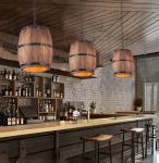Bedroom Retro Wooden CRI 75 Wine Barrel Pendant Light