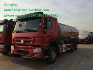 China Oil Tanker Trailer 30CBM EUROII Engine Green Chassis Air Condition Cabin on sale