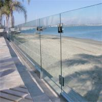 China Exterior powder coat tempered deck glass fencing post with aluminum u channel base on sale