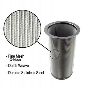 China 18/8 Stainless Steel Cold Brew Coffee Maker Filter Cylinder 8.3cm Top Dia on sale
