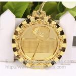 Medalhas chapeadas ouro da raça do metal com fita, medalhão prizing personalizado da raça do metal,