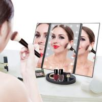 China ABS Materials Mirror Desktop trifold led vanity touch sensor makeup cosmetic mirror on sale