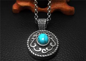 China Cool Stainless Steel Pendant Necklace Chain Men Blue Agate Necklace on sale