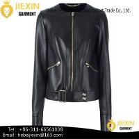 China New Style Lady's True Leather Jacket with Zipper Fashion on sale