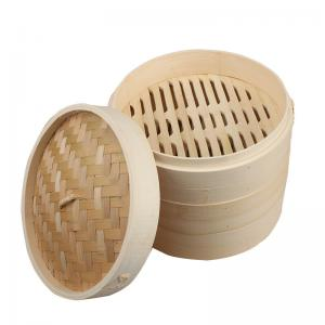 China 2 Tier Customized Size Dim Sum Bamboo Steamers Set Basket 10 Inch on sale