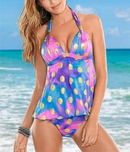 China Golden dot printing swimwear for women Tankinis swimsuit made in china on sale