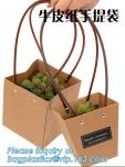 Recycled Fashion Design Flat Paper Handle Kraft Gift Bag Flower Carrier Bag,Flower carrier bag kraft paper flower carrie