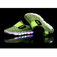 Green Microfiber Upper Kids Sport Shoes LED Light Up Casual Kids LED Shoes