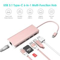 USB Type C Hub Ethernet and HDMI adapter with SD Card Reader Power Charging 2 Type A Port for Apple Macbook pro&Windows