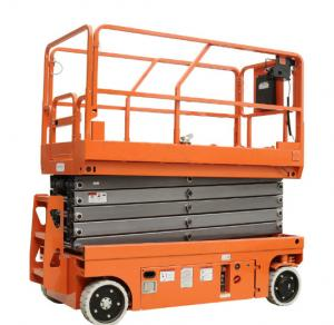 China 14M Small Electric Scissor Lift With Motorized Device Loading Capacity At 450Kg on sale