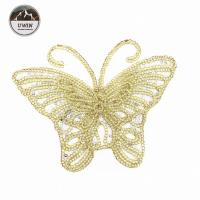 Beautiful Golden Butterfly Iron On Patch , Sequin Washable Animal Iron On Patches