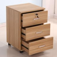China Mobile Office 3 Drawer Wood File Cabinet Furniture With 4 Casters Scratch Proof on sale