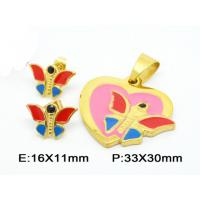 Fantasy Mini Butterfly Pendant Costume Jewellery Sets In Colorful Enamel