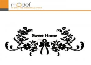 China Modern Decorative Crystal Wall Stickers Art Black Flower Vinyl Decals on sale