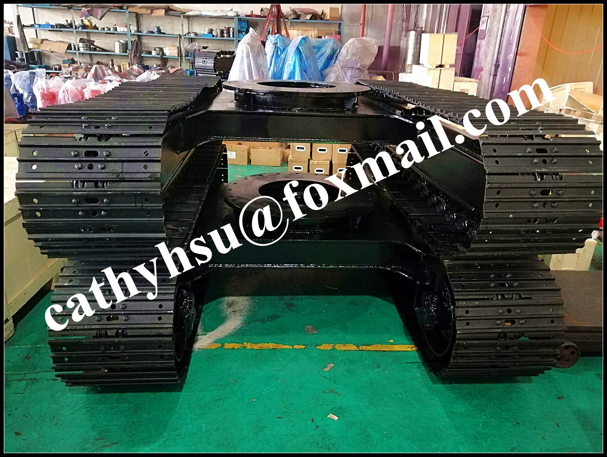 Steel track undercarriage, Steel track frame, steel track chassis, steel track system, steel crawlerundercarriage, steel tracked undercarriage, drilling rig steel track undercarriage, crusher steel trackundercarriage, excavator track undercarriage