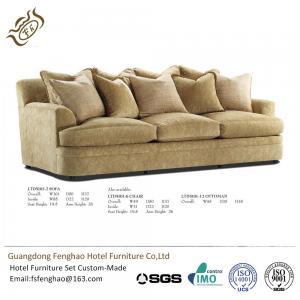 China Contemporary Khaki Color 3 Seater Fabric Sofa High Density Sponge Cushion For Hotel Lobby on sale