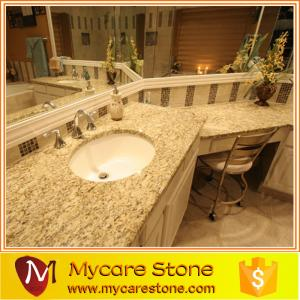 China Giallo ornamental best price granite one peice bathrom, vanitytop for sale on sale