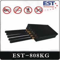 WIFI GPS Portable Cell Phone Jammer EST-808KG With Five Antenna , Black
