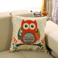 China Lovely Cushion Cover Polyester Cotton Cartoon Owl Printed decorative throw pillow cover cushion pillow covers on sale
