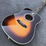 41 inch D style Solid wood acoustic guitar,Abalone binding and inlays ,Ebony fingerboard in sunburst