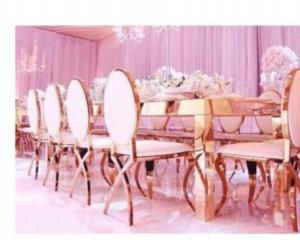 Quality Stainless Steel Wedding Dining Chairs Rose Gold Party Furniture Rental for sale