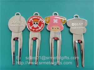 China Enamel colour filled golf pitchfork repairer supplier China, enamel golf divot tools, on sale
