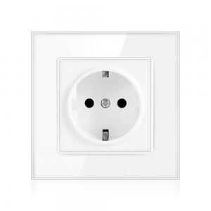 China Power Socket,16A EU Standard Electrical Outlet 86mm * 86mm white Crystal Glass Panel wall socket on sale