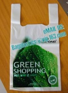 China compostable garbage bag, compostable biodegradable HDPE vest carrier plastic T-shirt shopping bag on sale