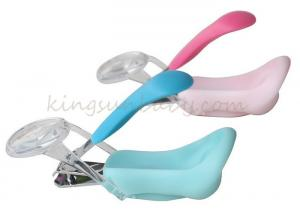China Colorful Plastic Baby Nail Scissors Toe Nursing Nail Clipper With Magnifier OEM on sale