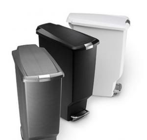 Office Black / White Plastic Waste Paper Trash Can With Pedal