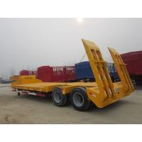 SKD Type Low Bed Trailer Truck , Gooseneck Flatbed Lowboy Trailers For Machine Transportaion