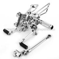 Silver / Black Motorcycle Rear Sets Deeply Knurled Brake Pedal Treatment