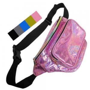 China girls waist pack colorful Flickering leather fanny bag wholesales zipper front pockets belts packs twinkle wait bag on sale