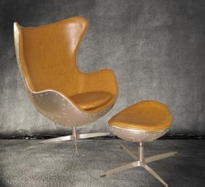 Astonishing Retro Aluminium Metal Aviator Leather Egg Chair Cowhide For Ibusinesslaw Wood Chair Design Ideas Ibusinesslaworg