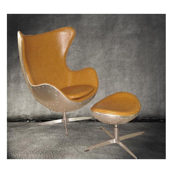 Retro Aluminium Metal Aviator Leather Egg Chair Cowhide Images
