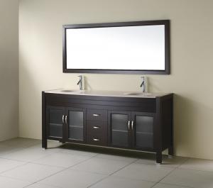 China Gabinete de cuarto de baño derecho del piso de madera negro de la chapa con el espejo de madera del marco on sale