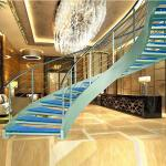Luxury curved glass staircase for sale