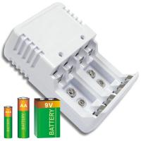 White Ni-Cad / Ni-MH Alkaline Battery Recharger With LED Indicator