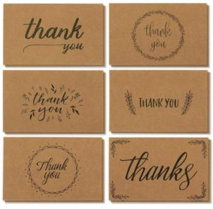 China Handwritten Style Holiday Greeting Cards , Kraft Paper Thank You Greeting Cards on sale