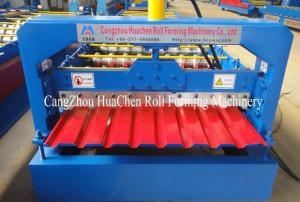 China ISO Power Floor roof tile roll forming machine with Gear Box Transmission on sale
