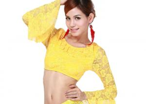 China Yellow Rose Lace Sexy Belly Dancing Bra Tops Women Bellydance Costumes Egypt on sale