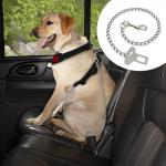 """Dog Car Seat Belt Clip Leash Quick Fit Stainless Steel Chain Dog Leash 21"""" Long"""