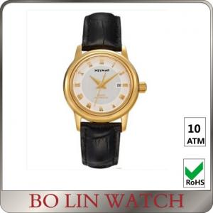 China 40mm Case Size Leather Strap 18k Solid Gold Watches For Women Customised Logo on sale