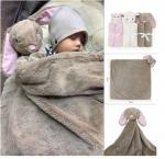 Best wholesale cheap custom cute 76*76cm plush stuffed soft various type animal head toy design knitted milestone blanke