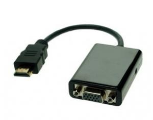 China Fast 190mA Metal HDMI to VGA Cable AUDIO VIDEO Convertor ESD 8KV on sale